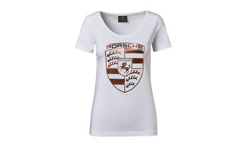 Porsche Ladies' Rose Gold Crest T Shirt in White