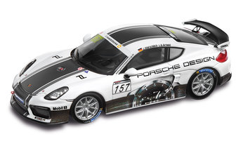 Cayman GT4 Clubsport Porsche Design, weiß/multicolour, 1:43, Limited Edition