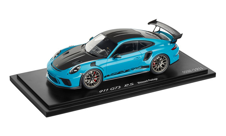 911 GT3 RS with Weissach package, 1:18, miami blue, Limited Edition