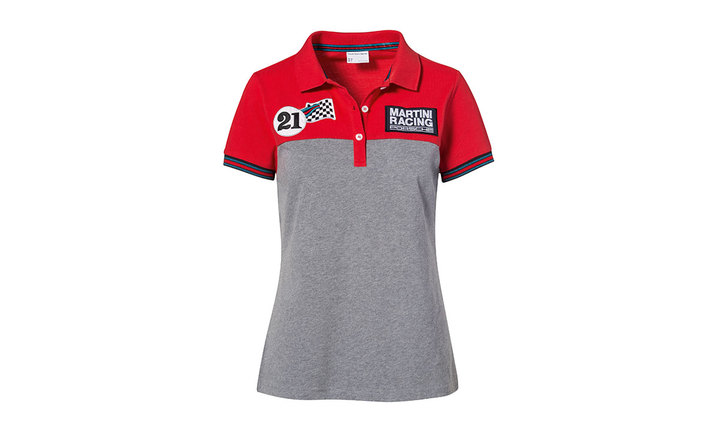 Martini Racing Collection, Polo-Shirt, Women, red grey melange