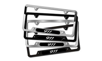 911 Polished Stainless Steel License plate frame