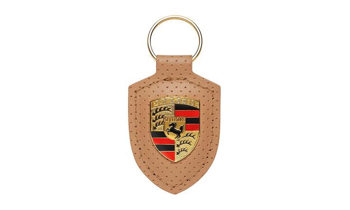 Porsche Crest Keyring, beige/gold