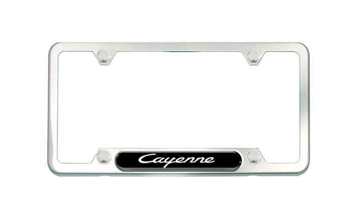 Cayenne Brushed Stainless Steel License plate frame